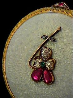 Faberge box with diamonds and rubies
