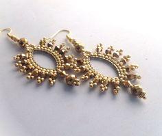 Gold crystal navette hoop earrings by Beadgardener on Etsy