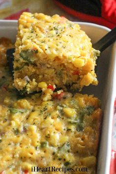 Easy Tex Mex Corn casserole made with frozen corn, cilantro, onions, cheese, and more. Replace egg and milk to make veg! I Heart Recipes, Side Dish Recipes, Vegetable Recipes, Dinner Recipes, Breakfast Recipes, Corn Dishes, Veggie Dishes, Mexican Food Recipes, Vegetarian Recipes