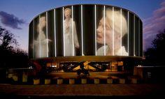 "Doug Aitken - Actress Tilda Swinton sings for installation ""Song Projected to the façade of the Hirshhorn Museum in Washington, 2012 Washington Dc, Tilda Swinton, Bauhaus, Hirshhorn Museum, Facade Lighting, Lighting Design, National Mall, Art Design, Houses"