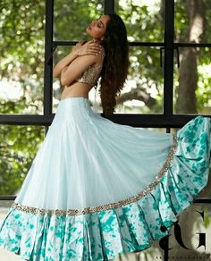 Then you're going to love this beautiful lehenga by Akanksha Gajria Half Saree Designs, Lehenga Designs, Indian Wedding Outfits, Indian Outfits, Stylish Dresses, Fashion Dresses, Swag Fashion, Style Fashion, Lehenga Style