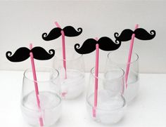 Mustache themed party decor, set of 20 mustache huggers, mustache cupcake toppers, mustache baby shower, birthday banners, little man party. $13.00, via Etsy.