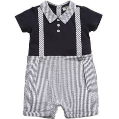 Adorable boys shortie outfit by Armani Baby made from soft, lightweight cotton. Designed to look like a polo shirt worn with shorts, the stretchy jersey navy blue top has imitation braces stitched on the front featuring an embroidered signature eagle logo and the attached lightweight shorts are grey and white striped. This one piece is stylish and practical, fastening at the back and between the legs with poppers for easy dressing and nappy changes and makes the perfect little ...