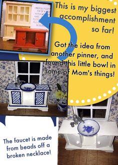Kitchen sink, dollhouse miniatures! DIY