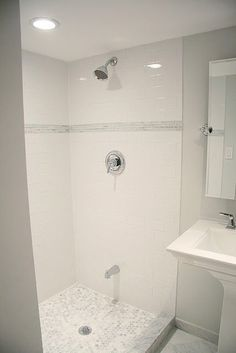 """...Rather than having a 12"""" tall accent, simply cut this sheetcontaining 10 columns with 10 rowsinto 5 rows of 2x10 squares, or 2 rows of 5x10 squares. Your accent stripwill be smaller, but you'llsave a lot of money here. Remember how pretty this shower looked?"""
