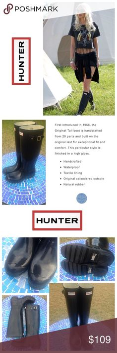 AUTHENTIC HUNTER Original Tall gloss boots- black Iconic HUNTER Original Tall boots are beyond functional & oh-so gorgeous!  Crafted from high-end, waterproof rubber, these beautiful boots will keep you dry & stylish, in any weather!  They have been preworn with only light wear & tons of life left!  Size is 9W or EU 41-42.  No trades please.  Retail at $160! Hunter Boots Shoes Winter & Rain Boots