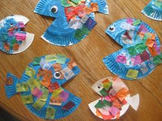 paper plate fish: paint, cut, glue, add eye (use the cut for the pectoral fin and made a fan out of construction paper for the tail fin)
