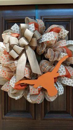 University Of Texas Burlap Wreath, UT Wreath, Football Wreath, Texas Wreath by Jarabels on Etsy https://www.etsy.com/listing/211209235/university-of-texas-burlap-wreath-ut