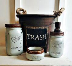 Check out this item in my Etsy shop https://www.etsy.com/listing/487645343/mason-jar-bathroom-set-4-piecerustic