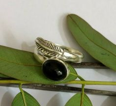Black Onyx Ring,925 Sterling Silver,Feather Shape Ring,Adjustable Ring,Boho Ring #Handmade #Friendship #Rings Black Onyx Ring, Black Rings, Silver Rings, Western Rings, Full Finger Rings, Friendship Rings, Gothic Rings, Bohemian Rings, Delicate Rings