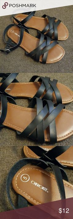 Black sandals NWOT Black sandals Size 5 for children, size 7 for juniors/women Brand new without tag Never worn Shoes
