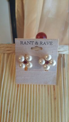 Ruby and Pearl earrings by chastystimelessfinds on Etsy