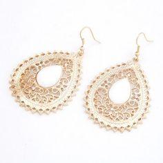 Bohemian style  hollow out tear drop earrings white 204462