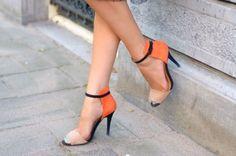 Zara Iconic Colorblock Black Orange Nude Ankle Strap Sandals Heels Bloggers Fav #zara #PeepToes