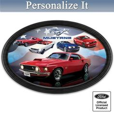 First ever! Framed collector plate features iconic Mustang cars and customized with your name and state on the '69 Mustang Boss license plate.