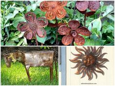 Are You on Team Rust? I hope so because it's inevitable in a garden! Rusty garden art began—or so I imagine it—when people needed a place to dispose of old metal items. What happened next was, the garden. Garden Yard Ideas, Garden Crafts, Backyard Ideas, Recycled Garden Art, Recycled Crafts, Western Outdoor Decor, Rusty Garden, Junk Art, Mosaic Glass