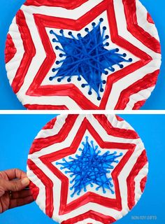 Paper plate patriotic craft for kids. Use yarn and paper plate to make this easy American flag craft for the 4th of July or Memorial Day #americanflagcraft #paperplatecraft #yarncraft