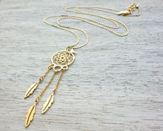Dreamcatcher Necklace, Mexican style chandelier tribal feather bird jewelry on Etsy, $67.00