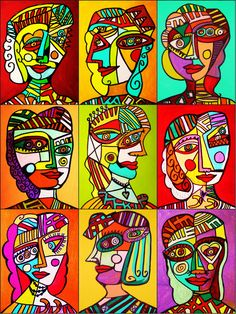 Abstract Your place to buy and sell all things handmade Kunst Picasso, Art Picasso, Picasso Blue, Portraits Cubistes, Portrait Art, Pop Art, Cubist Art, School Art Projects, Art Lessons Elementary