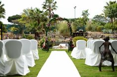 Pink and white ceremony by Algarve Wedding Planners