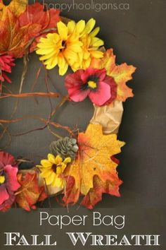 How to Make a Gorgeous Fall Wreath out of a Paper Bag - Happy Hooligans