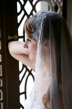 Traditional Lace Edge Veil French Eyelash Lace by GildedShadows
