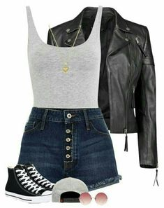 A fashion look from January 2018 featuring puffer jacket, ripped shorts and cotton jersey. Browse and shop related looks. Oufits Casual, Cute Casual Outfits, Black Converse Outfits, Summer Outfits For Teens, Teenager Outfits, Dress And Heels, Colorful Fashion, Skirt Outfits, Teen Fashion