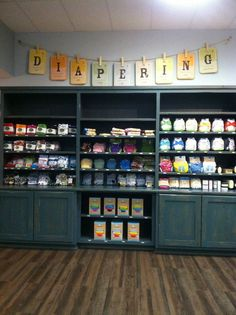 The Baby Grocery Store, Charlotte NC. The place is aaaawesome Kids Store, Baby Store, Baby Boutique, Boutique Ideas, Store Layout, Store Displays, Baby Design, Cloth Diapers, Store Design
