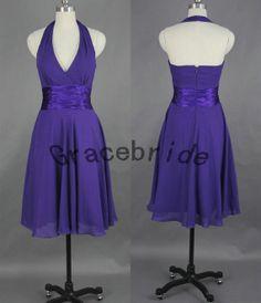 Dark bluepurple chiffon bridesmaid dress short prom by Gracebride, $79.00