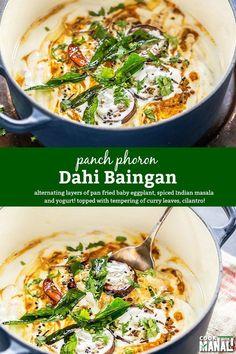 Dahi Baingan - baby eggplants layered with yogurt and spicy masala makes a great main vegetarian dish for potlucks & parties.
