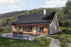 Projekt domu parterowego o pow. 104,5 m2 z obszernym garażem, z dachem dwuspadowym, z tarasem, sprawdź! Airbnb House, Forest Cottage, My House Plans, Small Barns, Small Living Room Design, Home Fashion, Sweet Home, House Design, House Styles