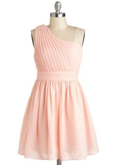 I Pink You're Lovely Dress - Pink, Pastel, Solid, Pleats, Wedding, A-line, One Shoulder, Spring, Mid-length, Prom, Tis the Season Sale, Top Rated