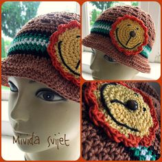 crochet hat made of 100 % cotton,  with a lion application