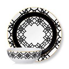 Amalfi Black & White Bone China Collection - B by Brandie
