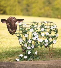 "♥ Plow and Hearth's exclusive Sheep Garden Trellis ~ Made of 100% iron mesh that stakes into the ground.  Measures 39"" wide by 2 3/4"" deep by 35"" high.  Plantings will grow to fill in the body to resemble wool. ♥"