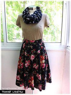 Woven midi fold skirt by Tamar Landau   on Etsy, $50.00
