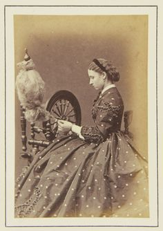 Princess Louise spinning, 1865 [in Portraits of Royal Children Vol.8 1864-1865]   Royal Collection Trust