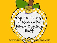 Top 10 Things to Remember When Zoning Staff: Back to School-Setting Up Classrooms for Students with Autism