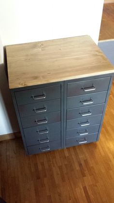 Modification to IKEA Helmer pair. Use wood top from Lowe's. Ikea Diy, Industrial Furniture, Diy Furniture, Ikea Hack, Furniture Hacks, Ikea, Ikea Furniture, Ikea Ps, Ikea Inspiration