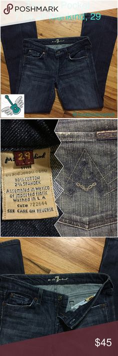 """The """"A"""" pocket design, 7 for all Mankind size 29 Great used condition. Waist is about 16"""" laid flat and inseam is about 30.5"""". It's hard to find 7s like this with such little wear at the hem. I am a five star closet, and a suggested user. Check my reviews and buy with confidence! Thanks! 7 For All Mankind Jeans"""