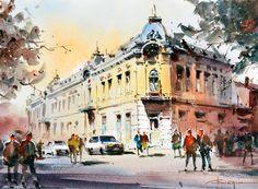 Corneliu Dragan-Targoviste   urban landscape watercolour-32