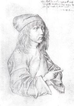 Albrecht Durer silverpoint portrait - self portrait at around 14 yrs old!