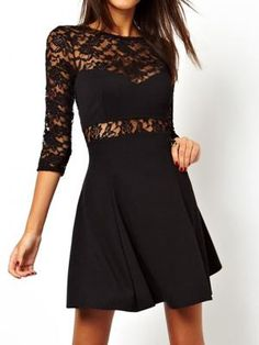 Black Lace Dress with Open Back - Choies.com