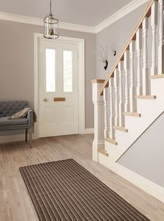 Pinglen on home ideas hallway colours, hallway decorating, hall perta Hallway Colour Schemes, Hallway Colours, Hall Paint Colors, Crown Paint Colours, Dulux Paint Colours Hallways, Bedroom Colour Schemes Neutral, Dulux Grey Paint, Stairs Colours, Color Schemes