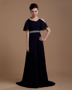 Formal Evening Dresses with Sleeves   Short Sleeves Beaded Chiffon A Line Black Prom Gowns - New Arrival ...