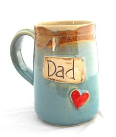 Dad Mug Ceramic Handmade Pottery Wheel thrown Stoneware Dad  Mug by Jewel Pottery Cup Each one Unique