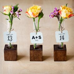 These handmade bud vases are actually made from test tubes! They make awesome DIY favors. Get 7 more ideas for DIY wedding decorations: http://www.womenshealthmag.com/life/wedding-decorations?cm_mmc=Pinterest-_-WomensHealth-_-content-life-_-diyweddingdecor