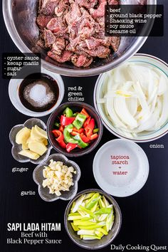 Sapi Lada Hitam - Beef with Black Pepper Sauce - Trent Lannen Sushi Recipes, Meat Recipes, Asian Recipes, Dessert Recipes, Cooking Recipes, Healthy Recipes, Gourmet Desserts, Ethnic Recipes, Plated Desserts
