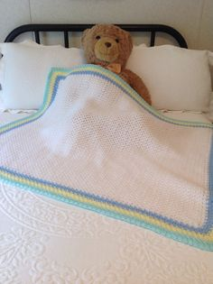 NEW Hand Crochet Baby Blanket/Afghan White Blue by YarnQueens