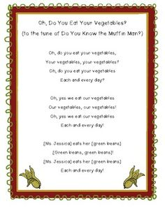 This cute song is great for learning about eating healthy during your Food & Health week!  Where there are brackets, use your students' names and vegetables choices.  I hope you have fun singing this cute and free song with your kiddos!  Border: Innovative Connections Clipart: Clipart Stand  Feel free to pin, share, rate or follow!